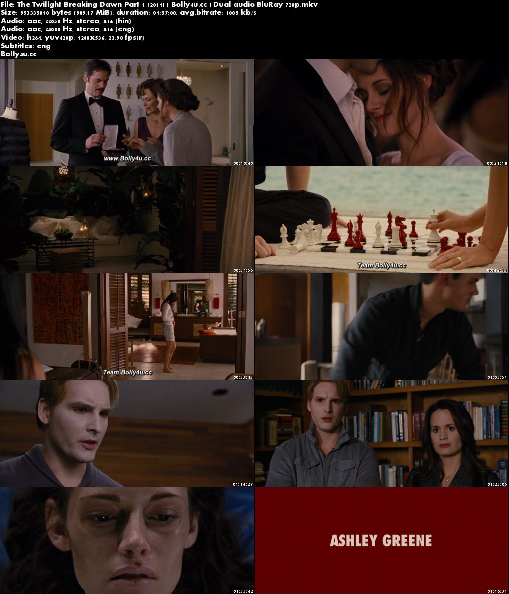 The Twilight Breaking Dawn Part 1 2011 BRRip 900Mb Hindi Dual Audio 720p Download