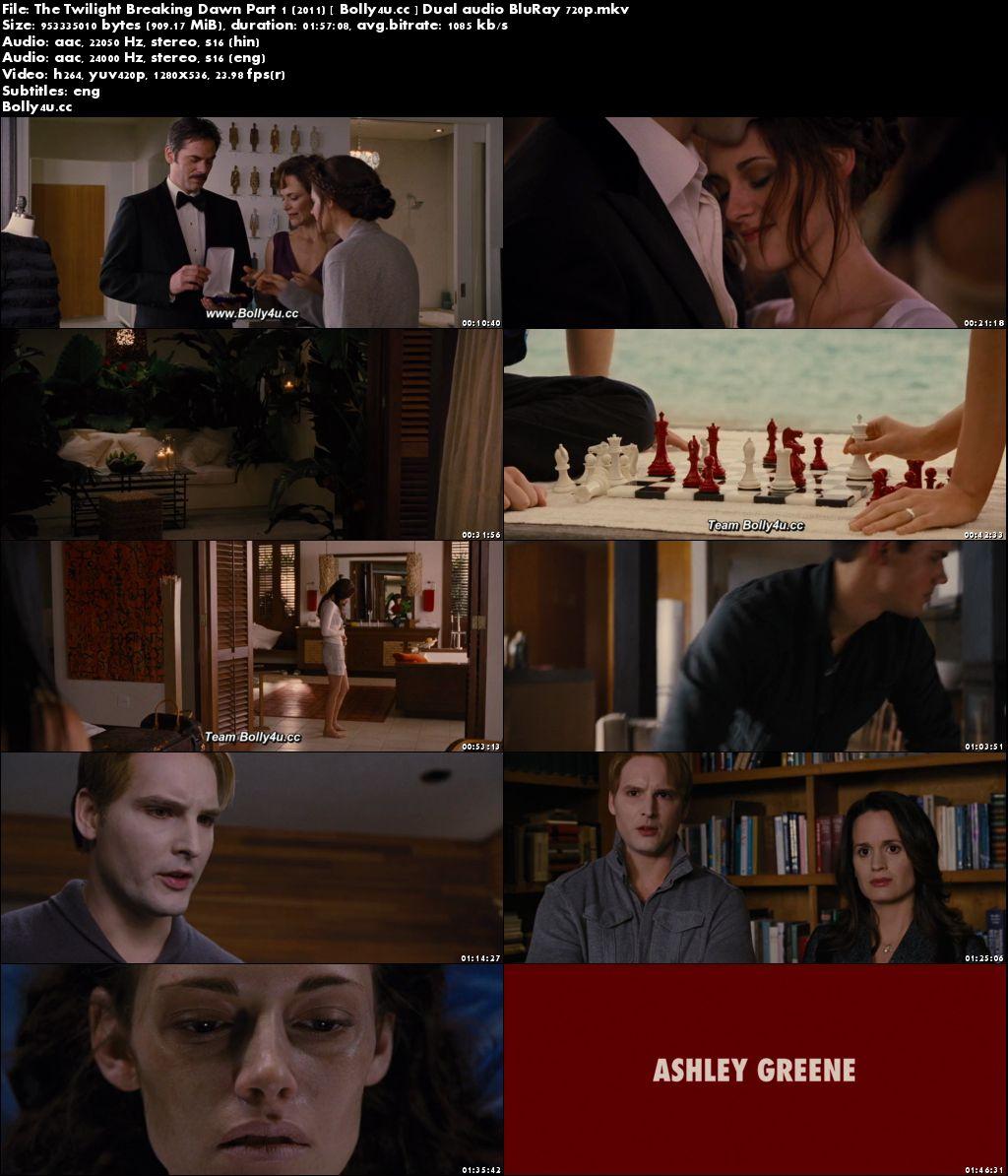 The Twilight Breaking Dawn Part 1 2011 BRRip 900Mb Hindi Dual Audio 720p Download