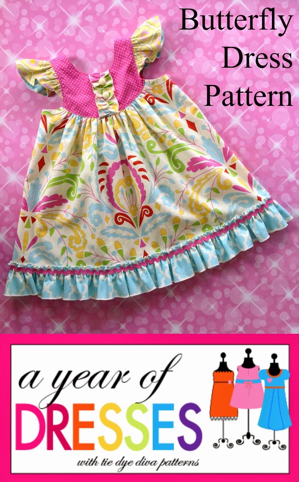 tie dye diva patterns  a year of dresses  butterfly dress