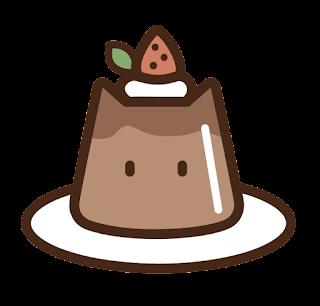 ねこチョコプリンのイラスト(苺つき)
