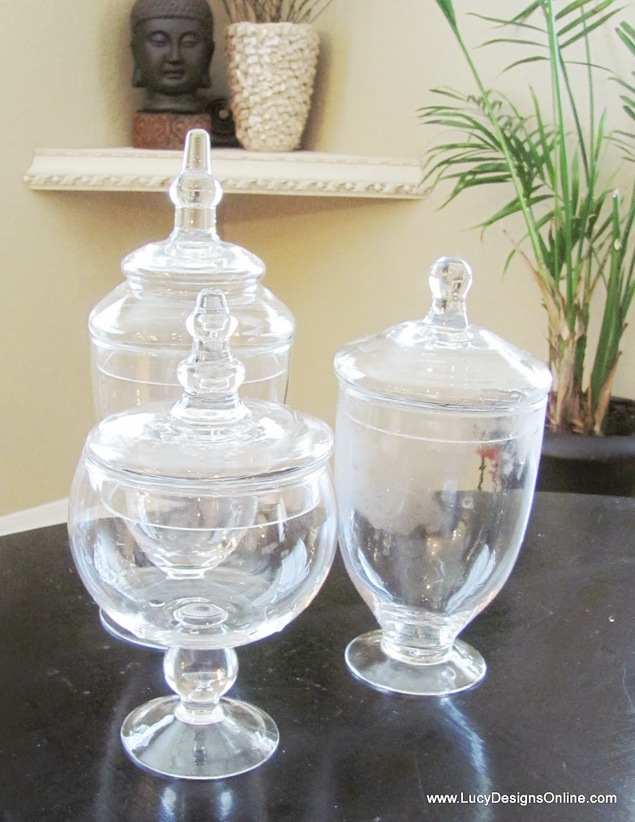 clear glass jars to mercury glass using spray paint