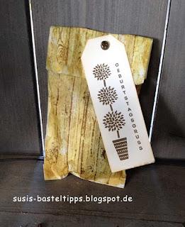 Stampin up geschenkverpackung für männer aus einer Butterbrottüte