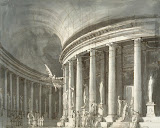 Stage-set Design: Temple with a Columned, Rotunda with Statues of Philosophers by Pietro di Gottardo Gonzaga - Architecture, Interiors Drawings from Hermitage Museum
