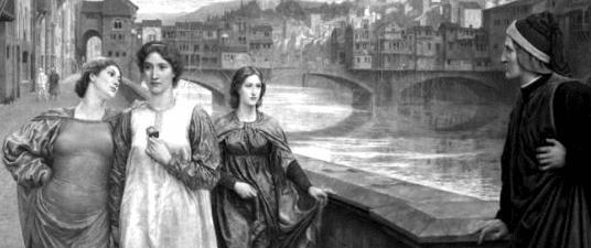 """Mio ritocco del dipinto """"Dante and Beatrice"""" del preraffaellita Henry Holiday, olio su tela, 1883. Clicca sull'immagine per vedere il dipinto originale e avere più informazioni."""