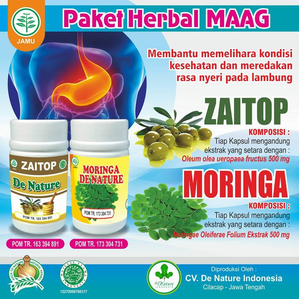 Khasiat Obat Moringa dan Zaitop Herbal de Nature obat maag, sakit lambung