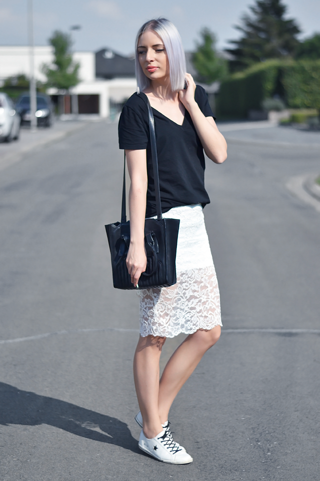 5933b94c68 Turn it inside out: OUTFIT: LACE PENCIL SKIRT