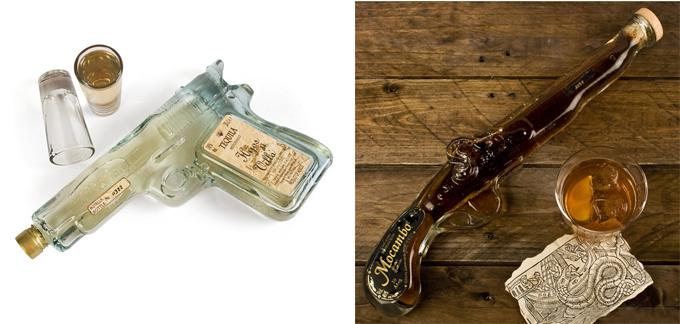 Botella de tequila en forma de pistola