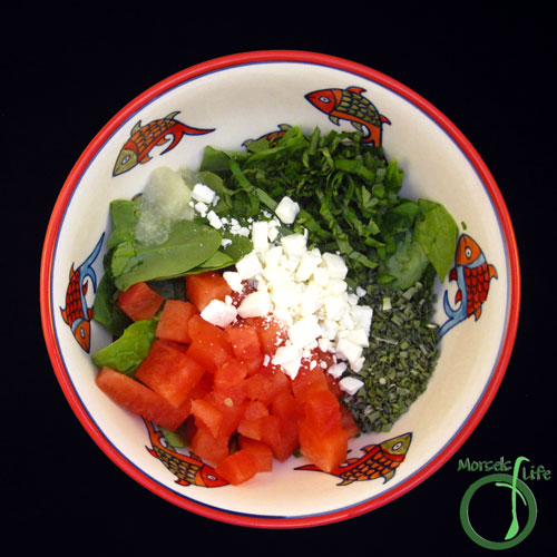 Morsels of Life - Watermelon Feta Spinach Salad Step 2 - Combine all materials.