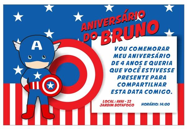 Convites Silverbeco Capitão América