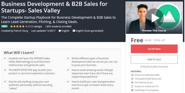 [100% Off] Business Development & B2B Sales for Startups- Sales Valley| Worth 195$