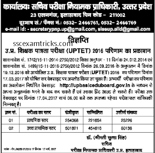 UPTET Result notice