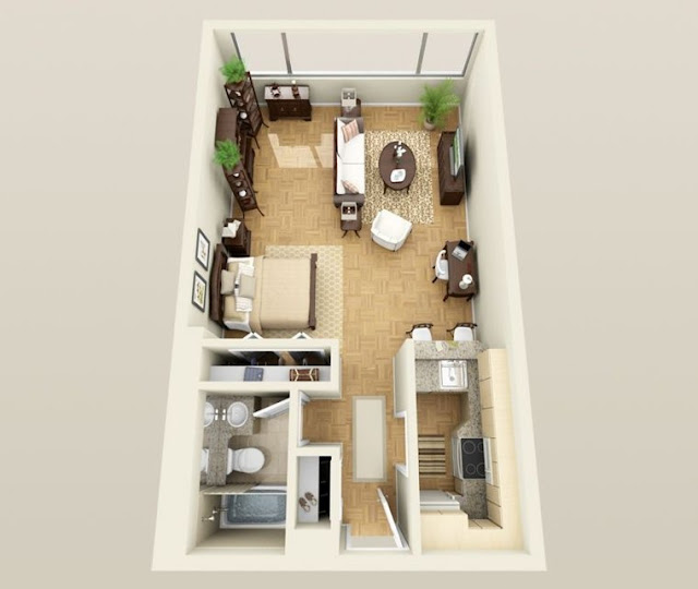 beautiful one bedroom 3d floor plans with basement