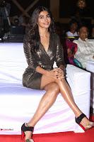 Pooja Hegde looks glamarous in deep neck sleevless short tight golden gown at Duvvada Jagannadham thank you meet function 115.JPG