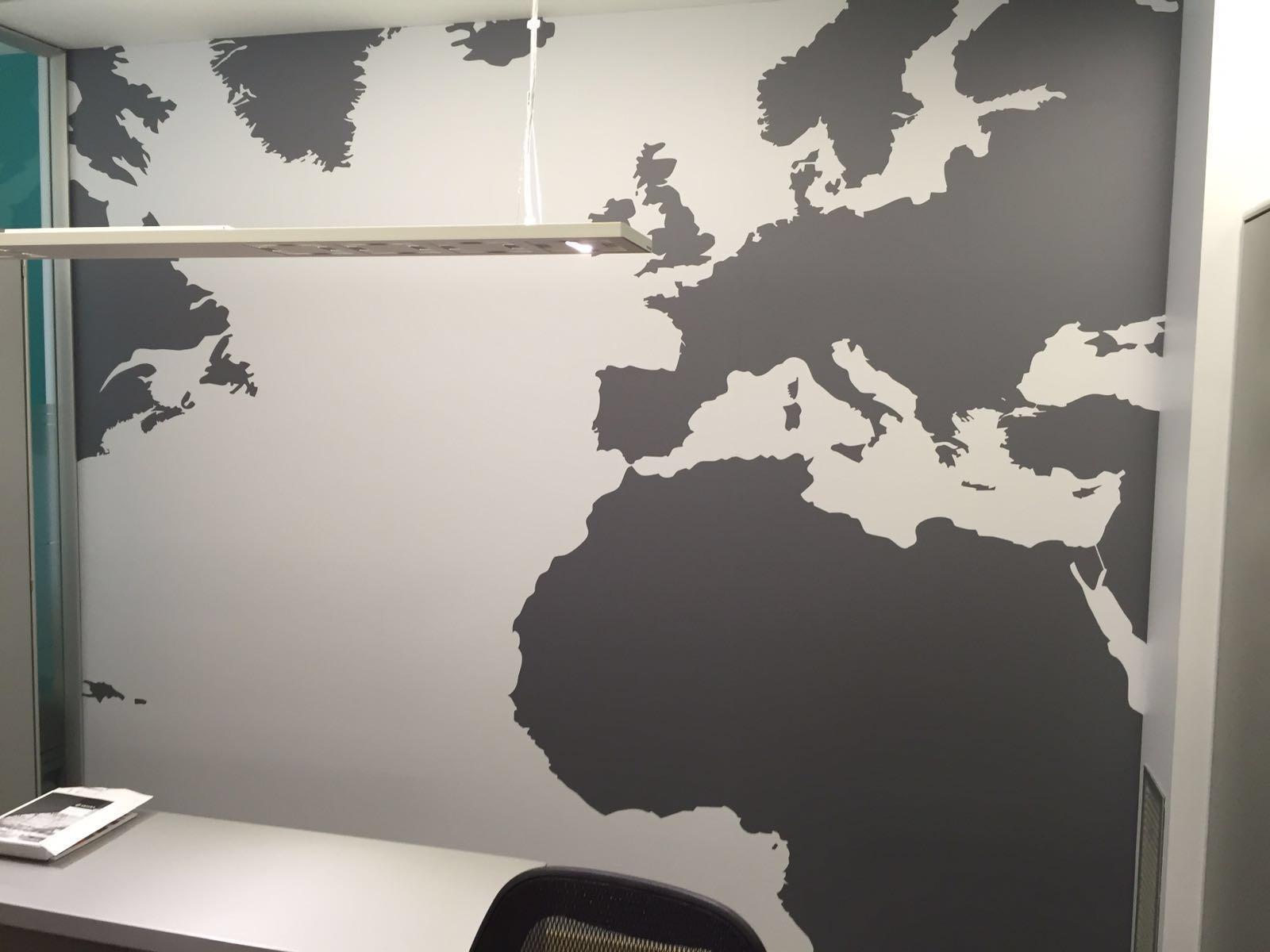Decoraci n mural para pared de oficina sector impresi n - Decoracion en pared ...
