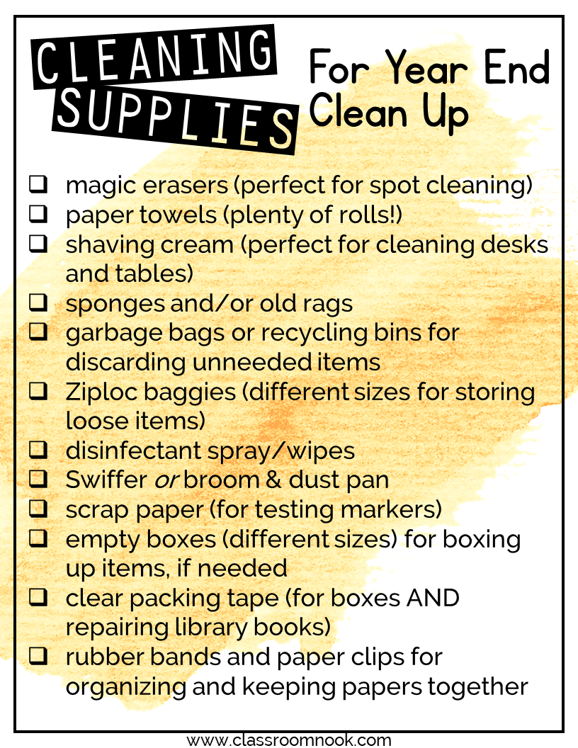 End of Year Clean-Up Supplies