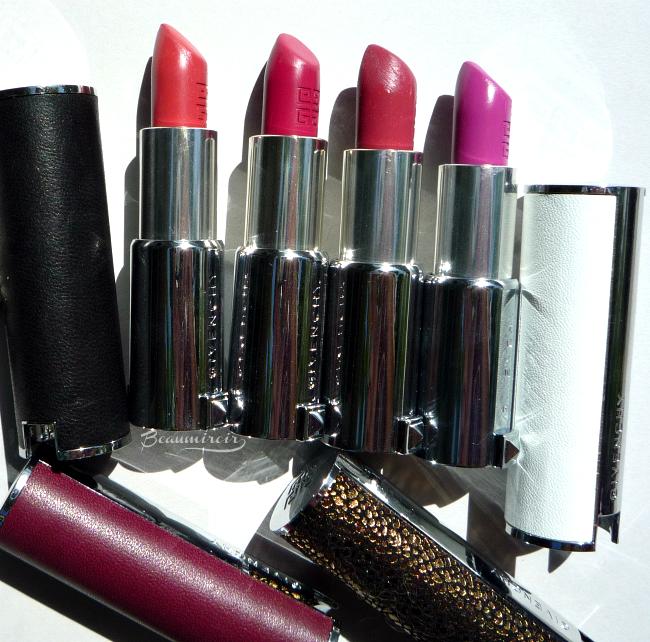Givenchy Le Rouge lipstick: 203 Rose Dentelle, 315 Framboise Velours, 312 Violine Precieux, 309 Croisiere Fuchsia