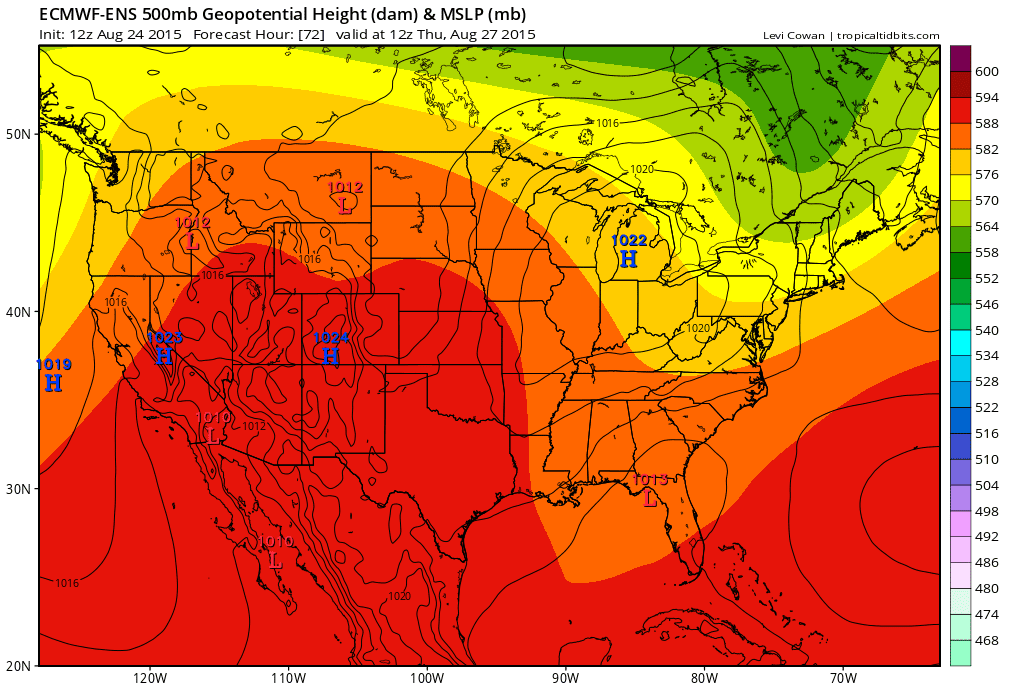 Thursday August 27 2015 Orange And Red Colors Indicate Higher Heights Warmer Temperatures