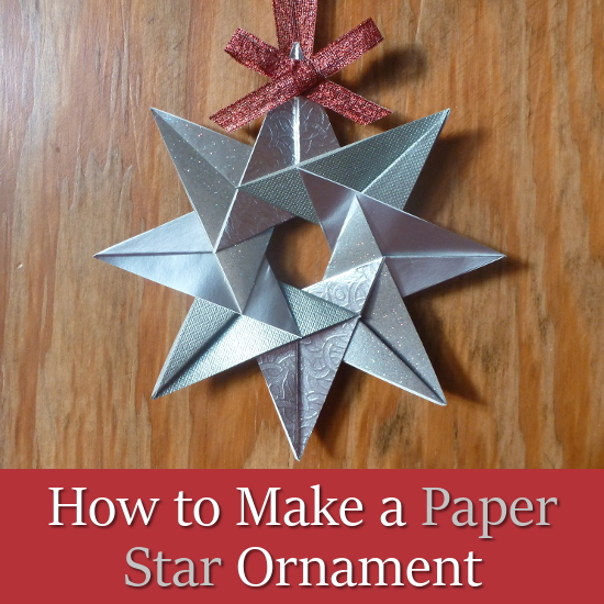 8 pointed silver paper star christmas tree ornament
