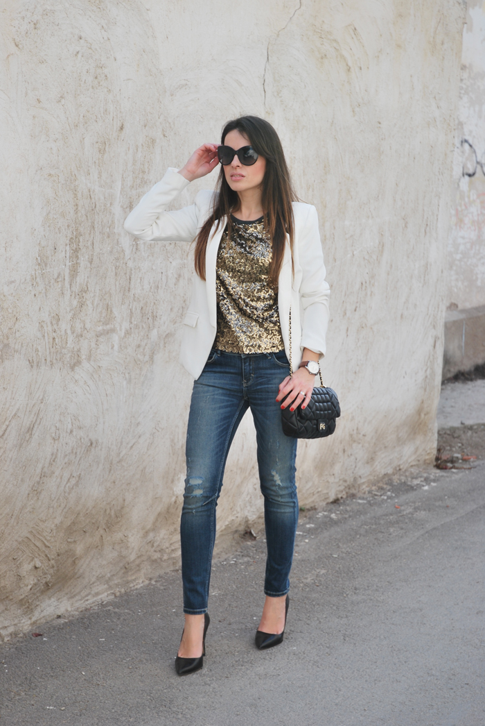 Paillettes and jeans