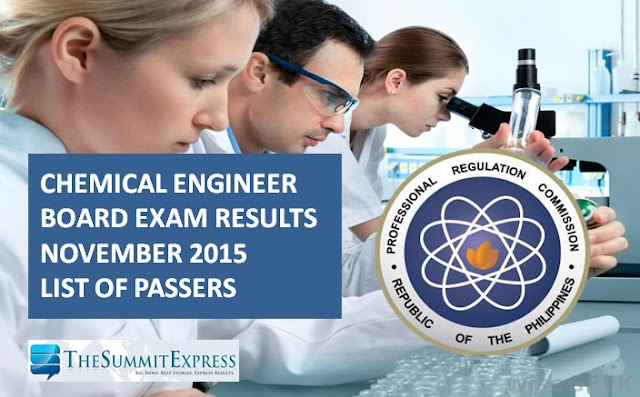 November 2015 Chemical Engineering (ChemEng) board exam results