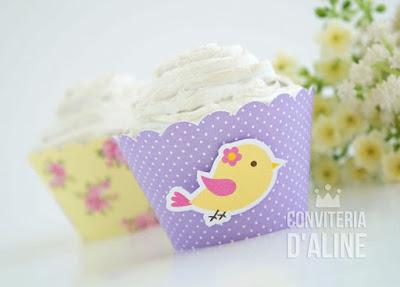 festa passarinho wrapper cupcake