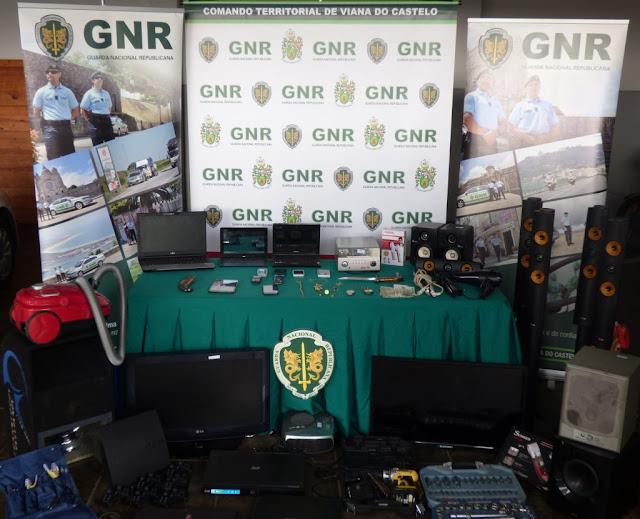 Fotografia da apreensão da GNR