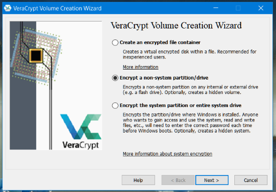 VeryCrypt Volume Creation wizard