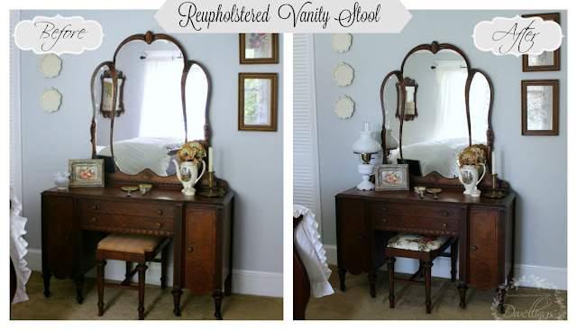 Guest Bedroom Vanity Stool Reupholstered - Before & After