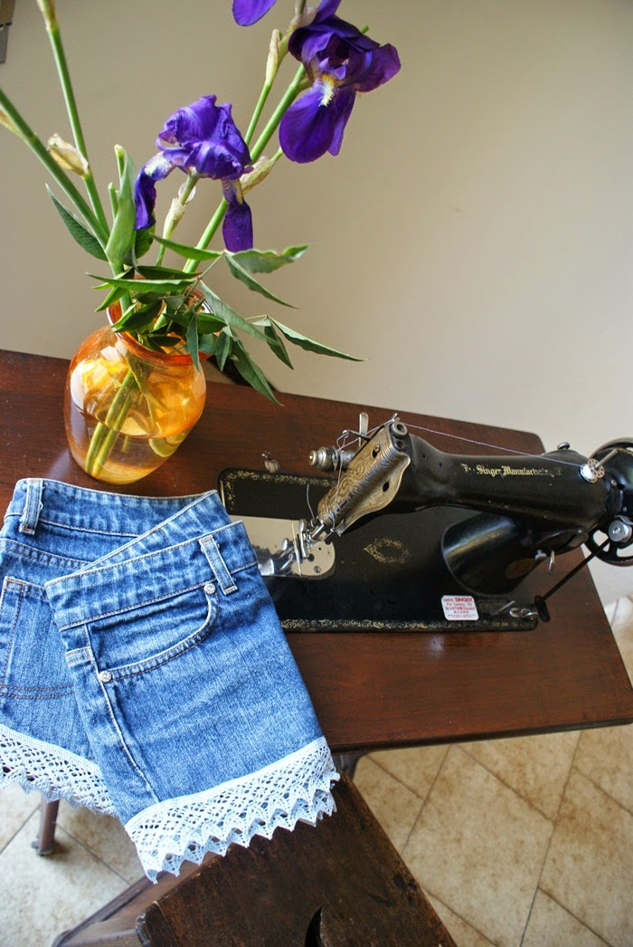lace denim shorts diy fashion
