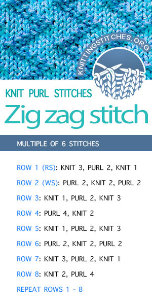 #KnittingStitches -- Free instructions for Zig Zag Stitch. Easy Knit Purl stitch pattern. #KnittingInstructions