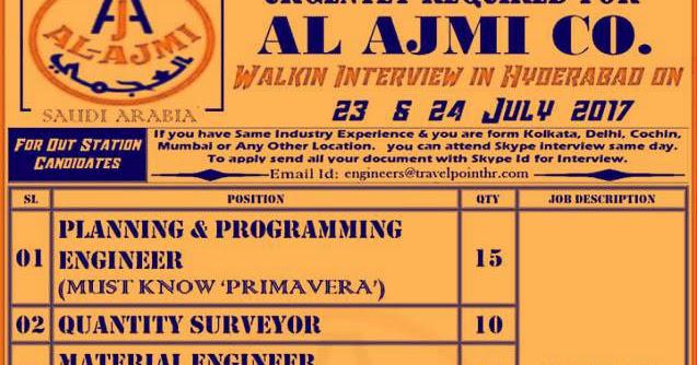Immediate Hiring For Al Ajmi Company Walk In Interview