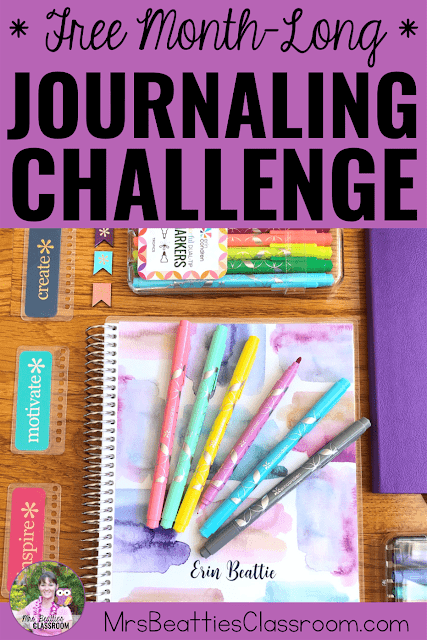 "Journaling supplies with text, ""Free Month-Long Journaling Challenge."""