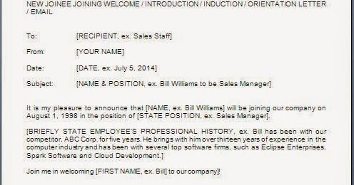 New Employee Announcement Email Sample