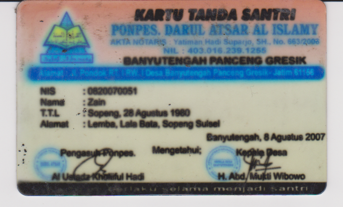 Kartu Tanda Santri | Ponpes Darul Atsar al Islamy | Banyu Tengah Panceng Gresik