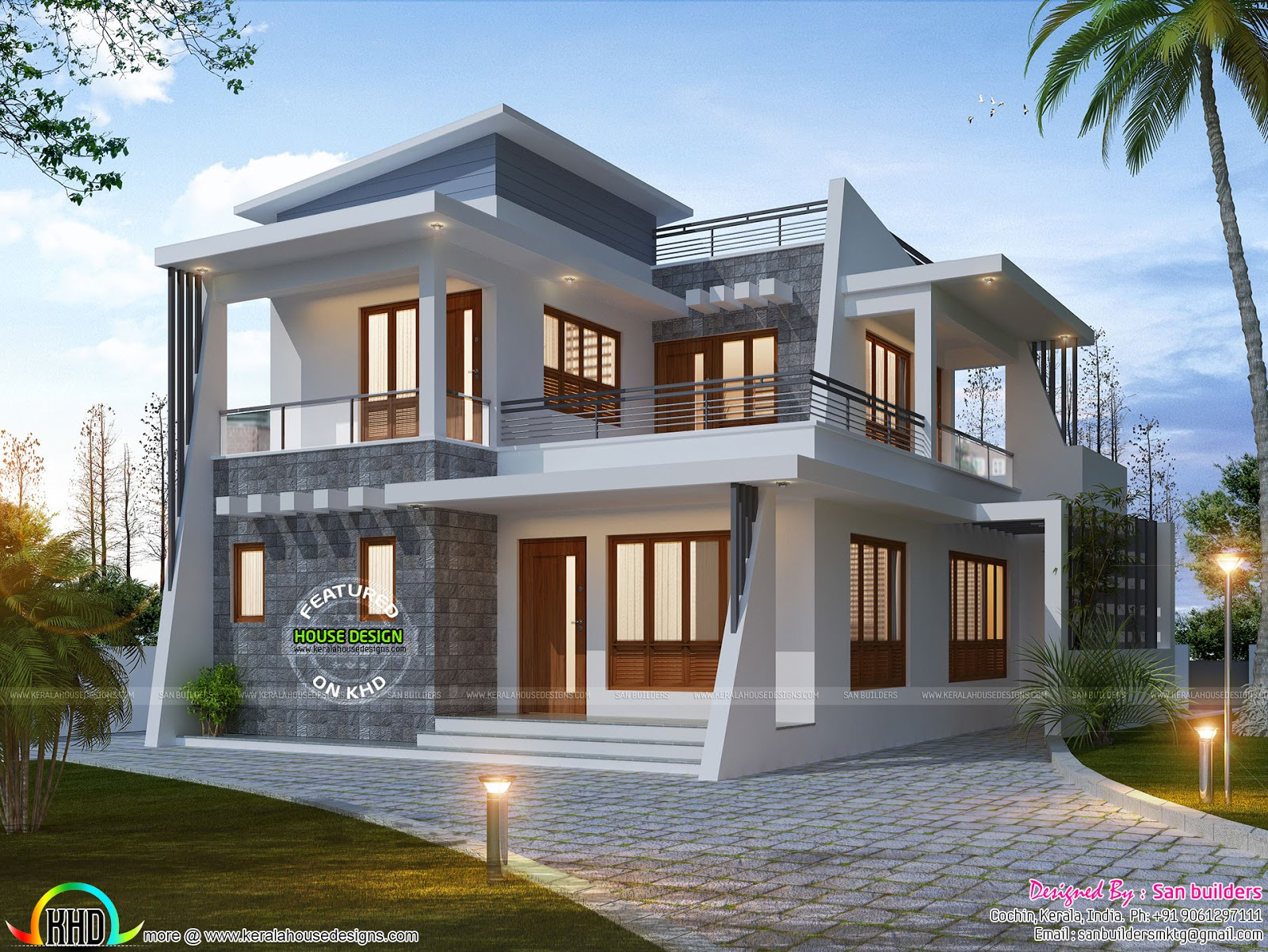 4 bedroom modern home 1885 sq ft kerala home design and for 4 bedroom house plans kerala style architect