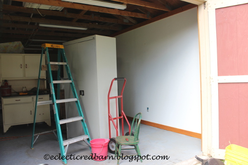 Eclectic Red Barn: Painting walls in the barn