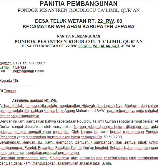 Proposal Pembangunan Pondok Pesantren Semua Surat