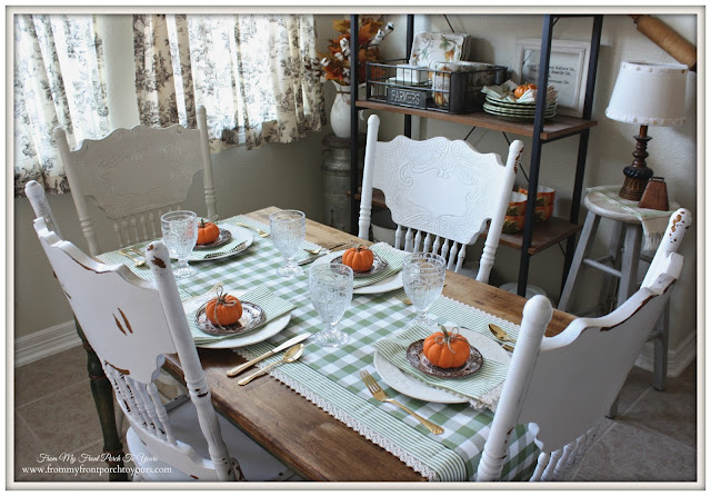 Gold Flatware-Farmhouse Style- Gingham-Fall Kitchen-From My Front Porch To Yours