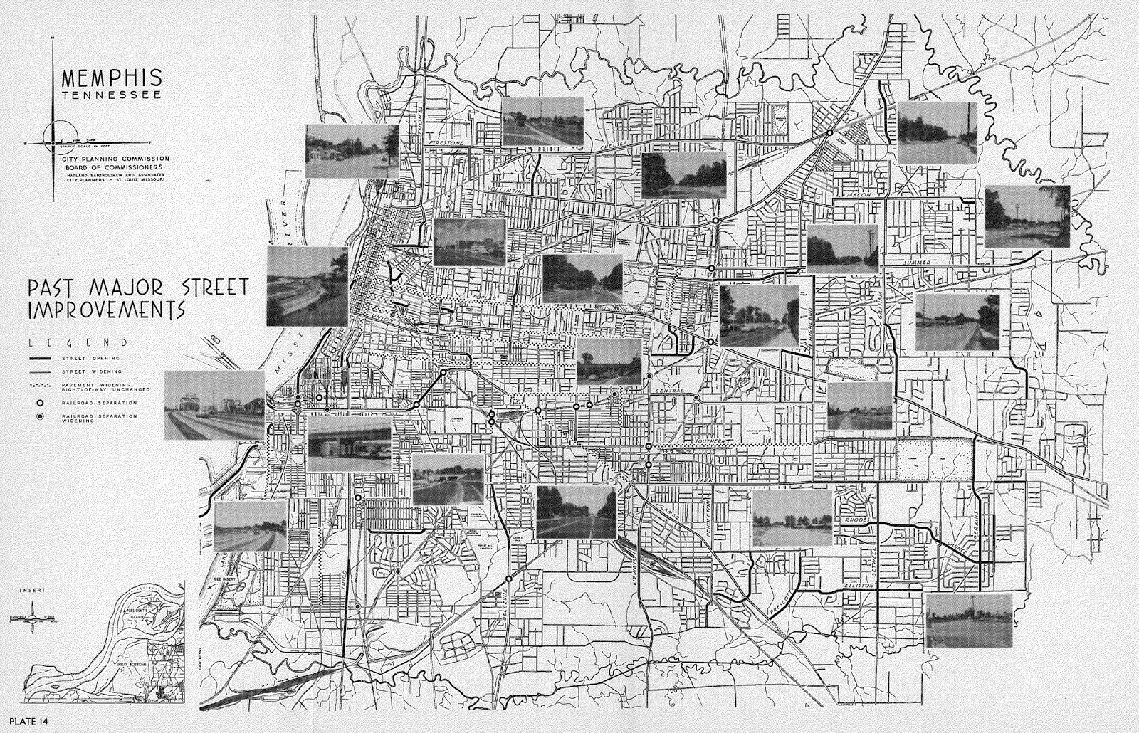 map no 8 this map was included in the 1955 plan created by harland bartholomew and associates for the memphis city planning commission