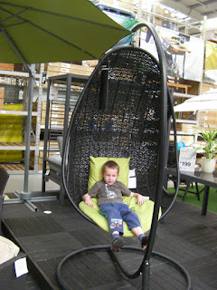 sitting down on the job, basket chair in B+Q