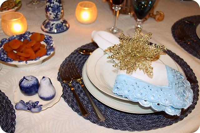 Guardanapo com Renda - Mesa de Natal em Azul