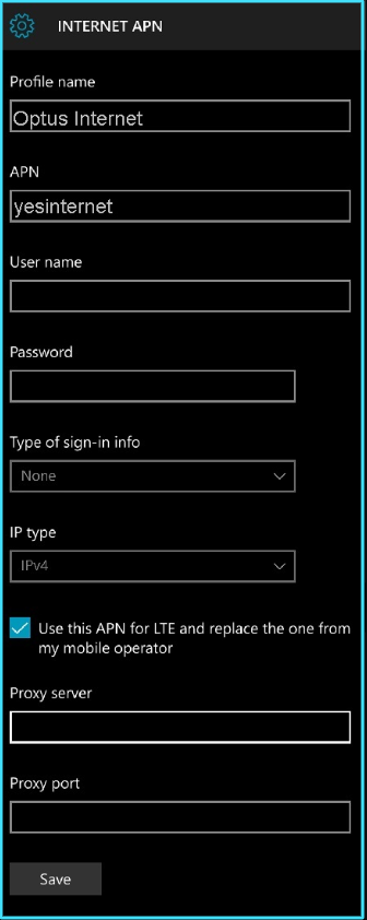 New Optus apn settings windows phone