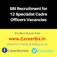 SBI Recruitment for 12 Specialist Cadre Officers Vacancies