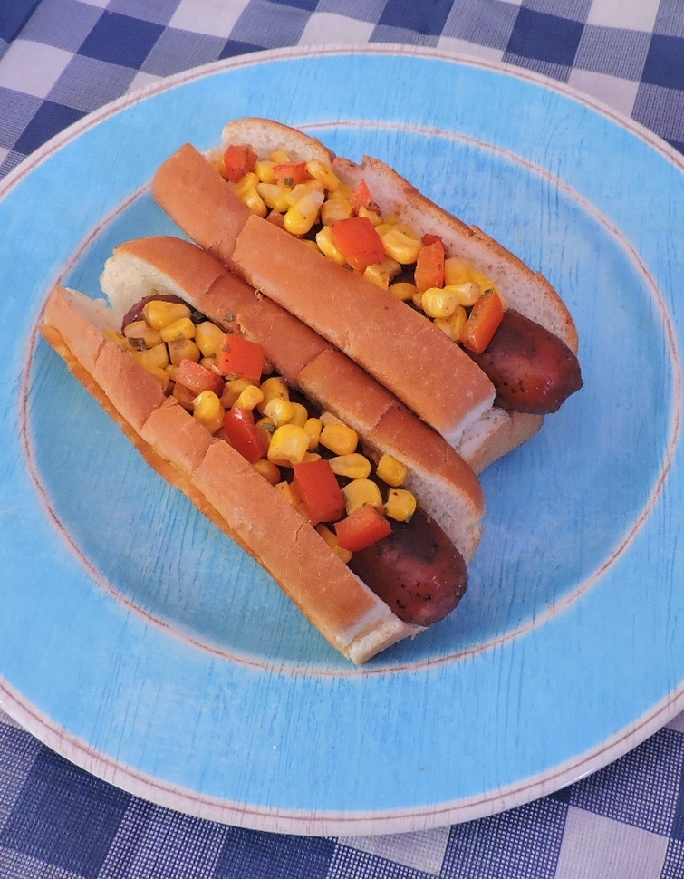 Bratwurst with Grilled Corn Relish