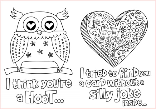 My Owl Barn: Color Your Owl Valentine's Day Card