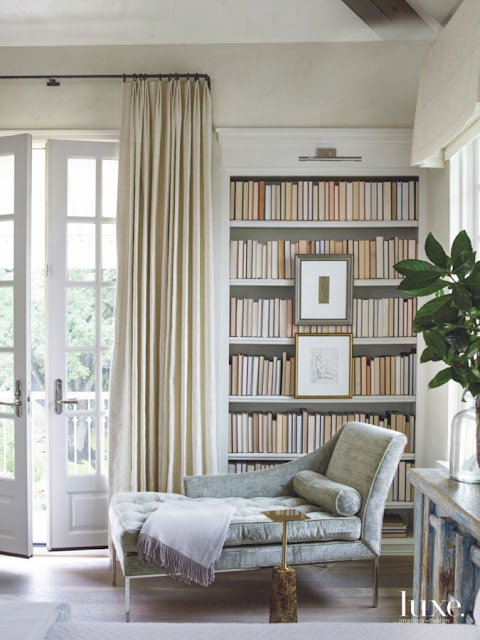 Provence style French chateau bedroom with library in Houston - found on Hello Lovely Studio