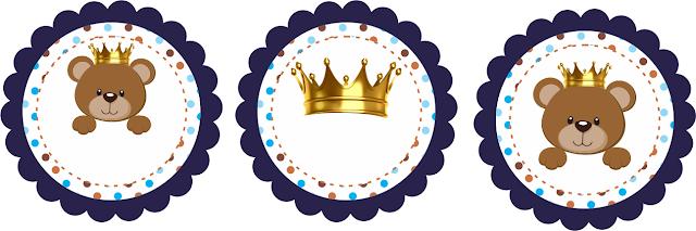 Toppers para Fiesta de Osito Príncipe para Imprimir Gratis.