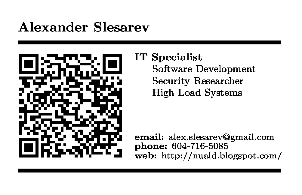 Diy business cards in latex i would like to notice that it can looks larger on the monitor comparing with the printing size due to different dpis multiply business card reheart Choice Image