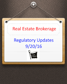 Real Estate Brokerage Regulatory Updates - 9/20/16 NYS Board of Real Estate meeting summary