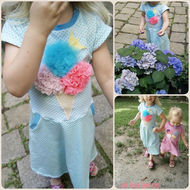 Sommerkleid, Eis-Applikation, Tüll, Näh-Blogger Themenwoche Urlaub mit Kindern, free Tutorial, Nähanleitung,